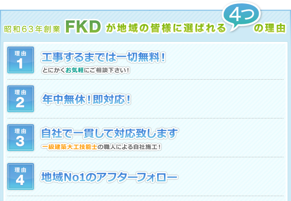昭和63年創業FKDが地域の皆様に選ばれる4つの理由
